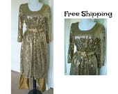 Vintage Tunic dress with gold pants~gold mirror fabric~vintage tunic~glam tunic~vintage dress~free shipping