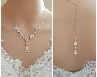 Rose Gold Back Drop Bridal Necklace, Crystal Back Necklace, Leaf Necklace, Cubic Zirconia, Back Wedding Necklace, Bridal Jewelry, Julia