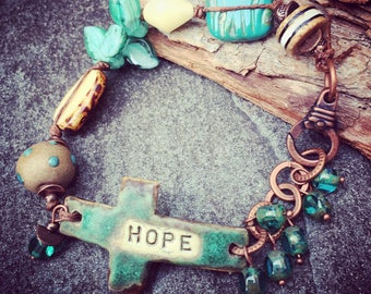 Hope Bracelet, Cross Bracelet, Word Bracelet, Affirmation Jewelry, Spiritual Jewelry, Knotted Bracelet, Teal Bracelet, YaYJewelry
