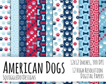 Digital 4th of July Printable Paper for Cards, Crafts, and Scrapbooking Set of 12 - American Dogs - Instant Download in Red, White, and Blue