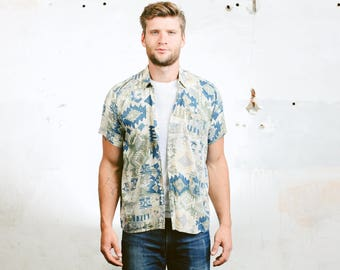 Mens Aztec Shirt . Vintage 90s Geometric Blue Shirt Printed Southwestern Button Down Short Sleeve Summer Top . size Medium