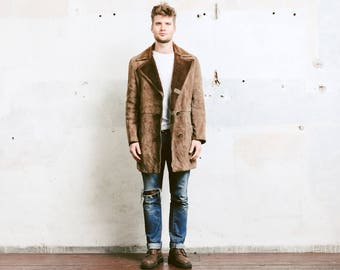 Mens Brown Suede Sheepskin Coat . Vintage 70s Sherpa Coat Jacket Winter Coat Leather Overcoat Outerwear Long Jacket . size Large