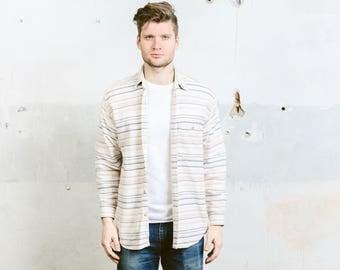 Vintage Aztec Shirt . Mens 90s Striped Beige Shirt Southwestern Print Cotton Button Down Peruvian Shirt 80s . size Medium M
