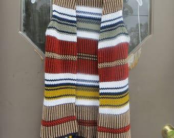 vintage  1970s  retro hippie  boho  long fringe acrylic  knit sweater  vest