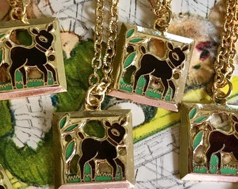 6 Party Favors, Bambi Necklaces,Signed Necklace,Emmons necklace,Deer Necklace,Gift,Guilloche Necklace,Enamel Necklace,Little Girl #G57