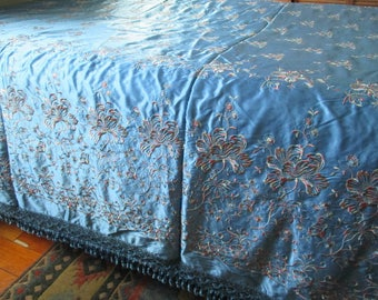 Italian Blue Satin Bedspread Embroidered Chenille Fringe Italy New with Tag