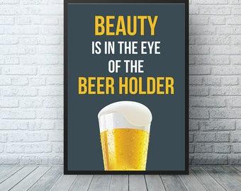 Beer Poster, Beer Wall Art, Craft Beer Gift, Bar Decor , Alcohol Art, Kitchen Decor, Bar Art, Beer Decor, Beer Lover Gift, Man Cave Art