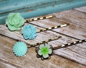 Romantic Floral Hair Pins, Floral Hair Accessories, Flower Cabochon,  Flower Hair Pins, Set of 4 Bobby Pins/clip