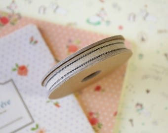 Beige with Black Stripes Thin Natural Ribbon