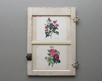 vintage cabinet front- Roses -farmhouse style - architectural salvage - vintage wood trim - chippy paint