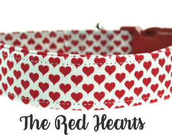 Red Hearts Dog Collar - Valentines Day Dog Collar