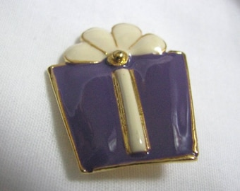 Delightful purple & white gift shaped brooch pin