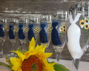 EXACT DRESS REPLICAS, Hand Painted Personalized Wine Glasses, Navy Sparkle,  Bridesmaid Gifts, Bridesmaid Champagne Glasses, Bridal Gifts