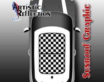 Checkered Sunroof Graphic for MINI Cooper R50, R53, R56, R55, R60, R61, F56