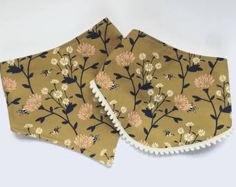 Fall Floral Bibs - Bibdana - Bandana Style Drool Bib - Pom Pom Bib - Baby Girl Gifts - Boho Baby - Shabby Chic Bibs - Mustard Floral