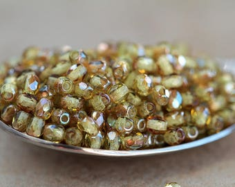 3mm Straw Green & Bronze Czech Glass Round Beads, Fire Polished Beads, small glass faceted round beads  (100pcs) NEW