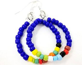 Beaded Hoop Earrings - Her Birthday Gift - Teenage Girl Gift -  Blue Rainbow Hoops - Blue Beaded Boho Earrings - Her Christmas Gift