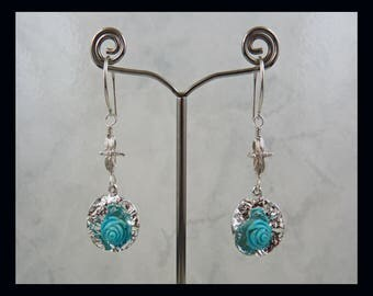 Turquoise Rose, Dragonfly, 925 Sterling Silver, Carved Flower, Wire Wrapped, Dangle Earrings, Insect, Flower, Genuine Gemstone, December