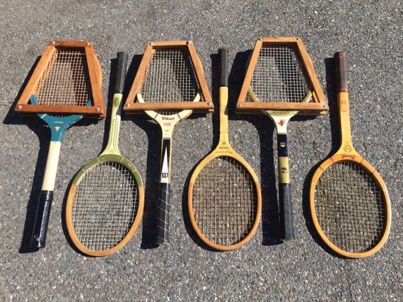 lot of 6 vintage wooden tennis racquets for club or lodge decor