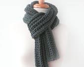 Men's Gray Knit Scarf - Boyfriend Gift Idea - Man scarf - Grey Winter Scarves