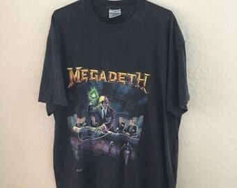 Vintage 1990 MEGADETH T-Shirt // 90s // Rust in Peace // Heavy Metal Shirt // Hair Metal // Metal Shirt