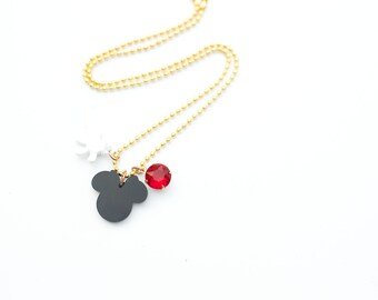 Minnie mouse red charm necklace with matching mouse mitten charm and red crystal. Girls necklace.