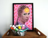 Fluo Neon Giclee Fine Art Pink On Hannemule Thick Paper, Manipulated Vintage Girl Portrait, Surreal Fluorescent Pink Art Collage Print