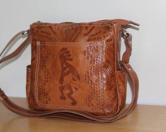 American West Tooled Leather Crossbody Purse Kokopelli Vintage