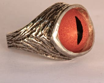 Dragon snake evil-eye ring in blue, solid sterling silver, size 4 to 11 adjustable (Made in NYC)