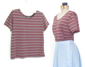 Vintage T-Shirt * Soft Thin Brown Tee * Capped Sleeve Tshirt * Medium