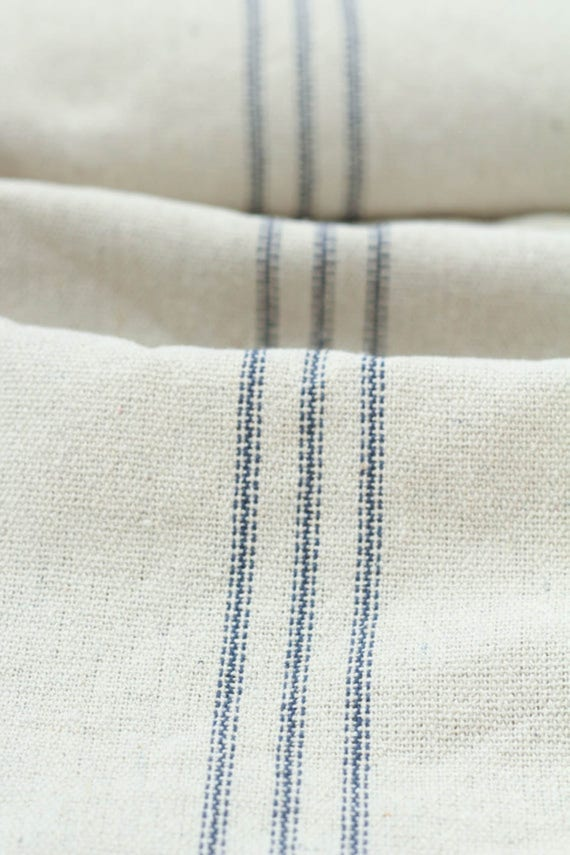 grain sack fabric by the yard nine blue stripes from ruthiebell on etsy studio