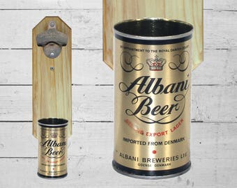 Albany Wall Mounted Bottle Opener with Vintage Beer Can Cap Catcher, Gift for Dad Retro Barware