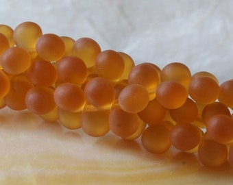 ON SALE 6x8mm Teardrop Beads Frosted Matte Amber Topaz  ( 50 beads) Reminiscent of Beach Glass