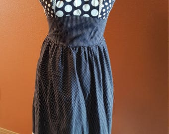Vintage Navy and White Polka Dot Sun Dress