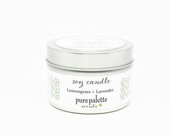 Soy Candle Lemongrass Lavender Candle Travel Tin Candle Silver 4 oz Scented Candle Gift Drop Shipping Made in Virginia