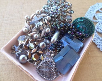 Slate Blue and Shappire Collection of Vintage Jewelry Destash Lot. Shabby Chic, Rhinestone Brooch, Forest Green D26