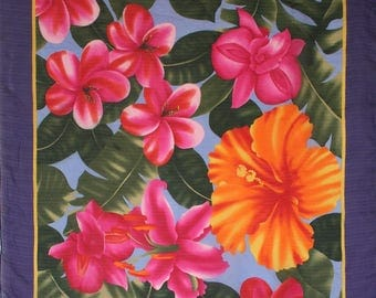 Oscar de la Renta tropical scarf. Large designer scarf, floral scarf, plumeria, hibiscus, lilies, orchids, hot pink scarf, orange, purple