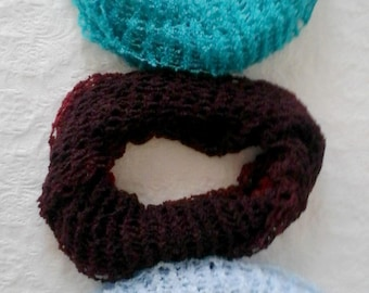Infinity Knitted Scarves, Round Scarf, Light Weight Infinity Scarves, Turquoise, Light Blue, Burgundy, Fashion Neck Wear, Handmade Gift
