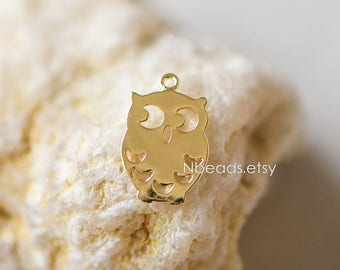 10pcs Gold Owl Charms 14mm, 24K Gold plated Brass Bird Pendants (GB-115)