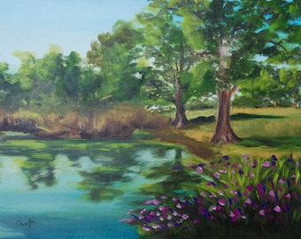Modern Impressionist Original Oil Landscape Painting of English Gardens by Rebecca Croft