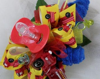Pin On Red Firetruck Baby Shower Corsage - Baby Boy Corsage - Floral Corsage - Pacifier and Washcloths - Baby Shower Items