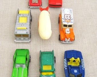 Vintage Hot Wheels, Collection, Toy Cars, Boat, Zeppelin, Matchbox Police Launch, Automobiles, Miniatures, Metal, Assortment, Fire Truck