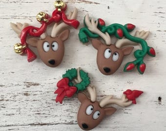 """SALE Reindeer Buttons, Packaged Christmas Novelty Buttons, """"Oh Deer"""" by Dress It Up, Jesse James, Shank Back Buttons, 3 Style Button Package"""