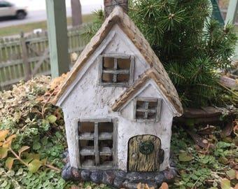 "SALE Miniature House With Hinged Door, Fairy Garden House, ""Misty Meadows"", Fairy Garden Miniature Home & Garden Decor, Accessory, Resin Hou"