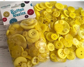 """SALE Yellow Buttons, Packaged Round Button Assortment, 5 oz bag, """"Lemon Yellow"""" #BCB102 Buttons Galore, Sewing, Crafting, Embellishments"""
