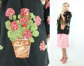 Vintage 60s Lounge Coat Blazer Jacket House Coat Folk Art Geranium Flower Pot Black Pink Floral 1960s XL Large L Linnex Kimono Blazer