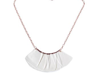 RUCHED No1 artisan white porcelain bib necklace, rose gold accent, rose gold chain, rose gold necklace