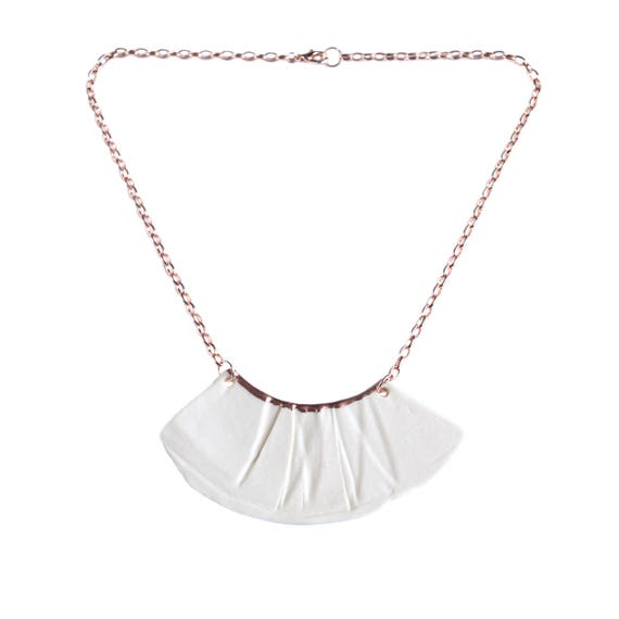 RUCHED No1 artisan white porcelain bib necklace, rose gold accent, rose gold chain, rose gold necklace
