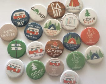 set of 20 camping 1.5 inch buttons pinback badge