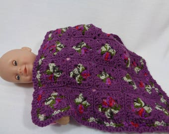 Purple Doll Blanket, Crochet Baby Doll Afghan,  Dollhouse Quilt, Crocheted Old Time Granny Square Blanket, Trivet, Baby Snuggie, Girly Gift